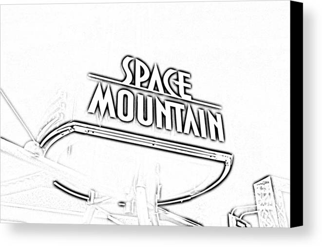 Travelpixpro Disney World Canvas Print featuring the digital art Space Mountain Sign Magic Kingdom Walt Disney World Prints Black And White Photocopy by Shawn O'Brien