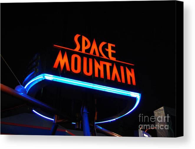 Travelpixpro Disney World Canvas Print featuring the photograph Space Mountain Sign Magic Kingdom Walt Disney World Prints by Shawn O'Brien