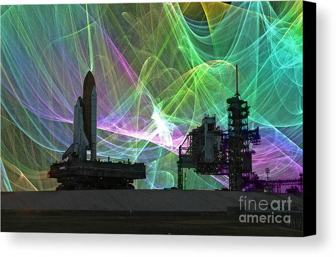 Usa Rollout Ksc Space Shuttel Centre Srb Sts-119 Florida Nasa Cape Kennedy Discovery Fractal Canvas Print featuring the photograph Space Shuttle Discovery by Rod Jones