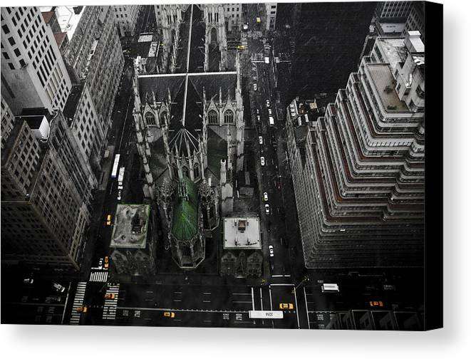Palace Hotel Canvas Print featuring the pyrography St. Patricks Cathedral by Marcel Krasner