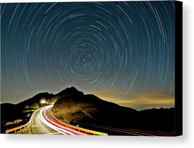 Horizontal Canvas Print featuring the photograph Star Trails by Higrace Photo