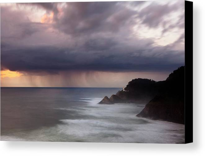 Light House Canvas Print featuring the photograph Storm Over Heceta Head by Keith Kapple