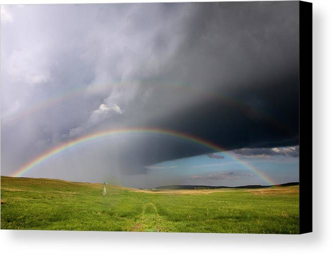 Horizontal Canvas Print featuring the photograph Storm Rainbow Prairie by Ryan McGinnis