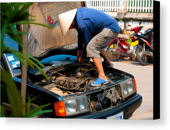 Asia Canvas Print featuring the photograph Street Mechanic by Scott Massey