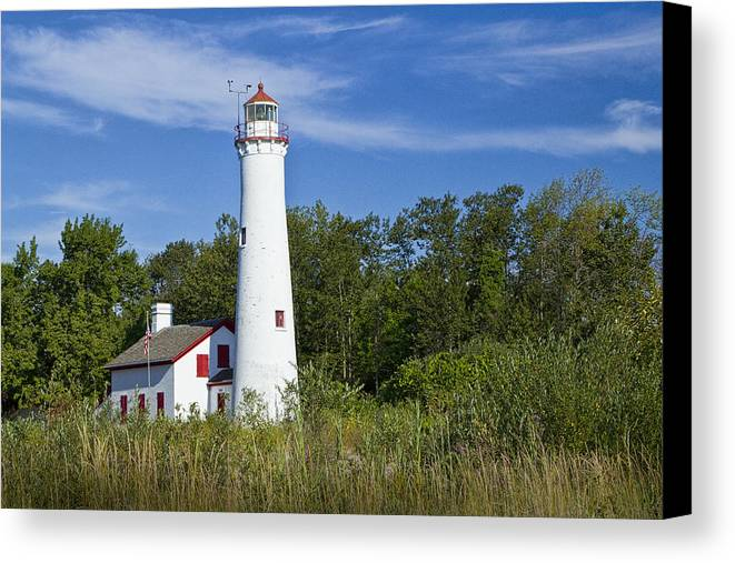 Art Canvas Print featuring the photograph Sturgeon Point Lighthouse by Randall Nyhof
