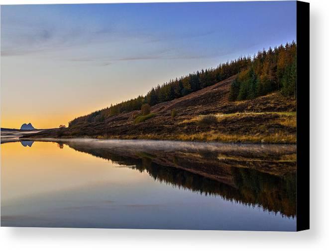 Assynt Canvas Print featuring the photograph Suilven Across Loch Craggie by Derek Beattie