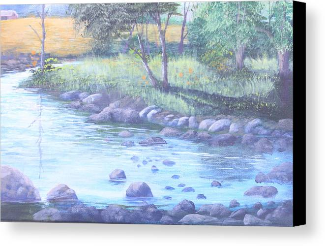 Forest Landscape Scene Canvas Print featuring the painting Summer River by Reggie Jaggers