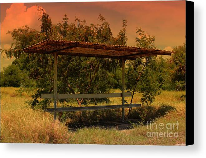 Bus Canvas Print featuring the photograph Sun Set Bus Stop by Tiffani Vanhunnik