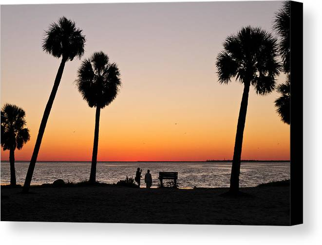 Florida Landscapes Canvas Print featuring the photograph Sunset And Palms And Two by Betty Eich