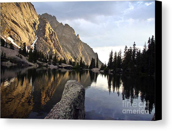 Landscape Canvas Print featuring the photograph Sunset At Willow Lake by Scotts Scapes