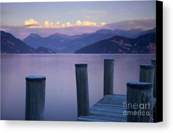 Lake Canvas Print featuring the photograph Sunset Dock by Brian Jannsen