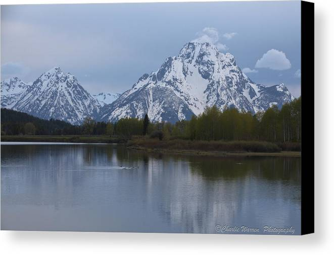 Grand Tetons Canvas Print featuring the photograph Sunset Grand Tetons by Charles Warren