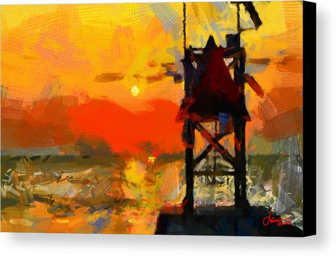 Sunset Canvas Print featuring the painting Sunset On Atlantic Ocean - Virginia Beach Tnm by Vincent DiNovici