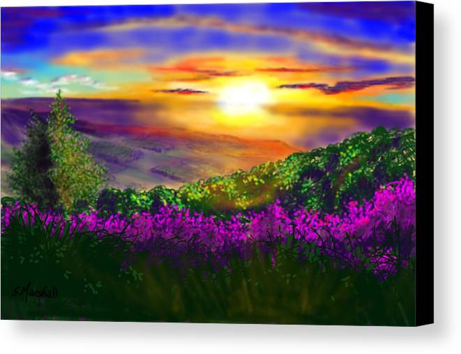 Landscape Canvas Print featuring the painting Sunset Over Rosedale by Glenn Marshall