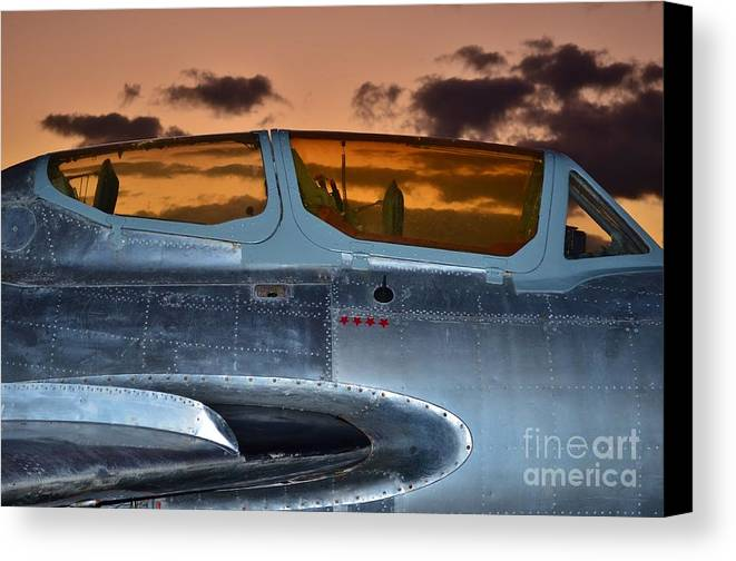 1951 Russian Mig Canvas Print featuring the photograph Sunset Through The Cockpit by Lynda Dawson-Youngclaus