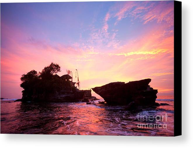 Architecture Canvas Print featuring the photograph Tanah Lot Temple by Luciano Mortula