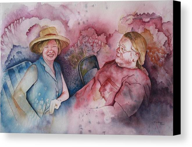 Character Portraits Canvas Print featuring the painting Taylor And Chuck At The Picnic by Patsy Sharpe