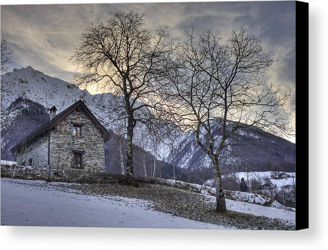 Palagnedra Canvas Print featuring the photograph The Alps In Winter by Joana Kruse