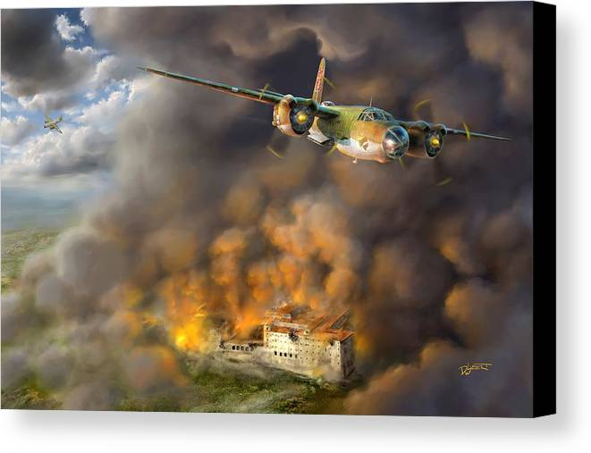 Battle Canvas Print featuring the digital art The Battle Of Monte Cassino by Dave Luebbert
