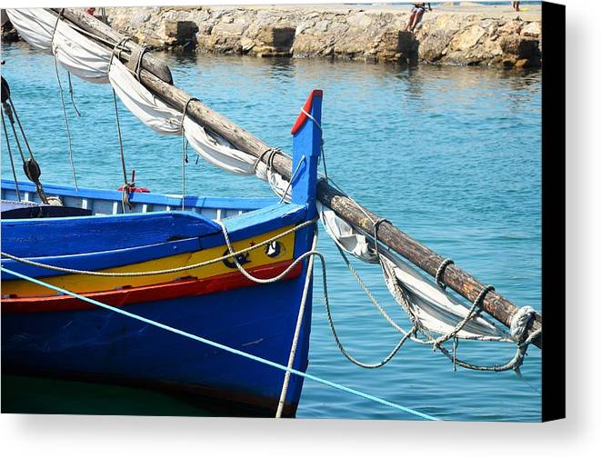 Aqua Canvas Print featuring the photograph The Blue Boat by Dany Lison