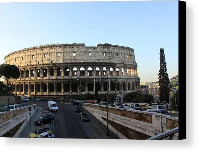 Rome Canvas Print featuring the photograph The Colosseum In Rome by Munir Alawi