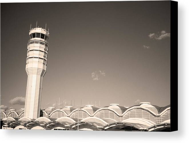 Airport Canvas Print featuring the photograph The Control Tower And by Stephen Alvarez