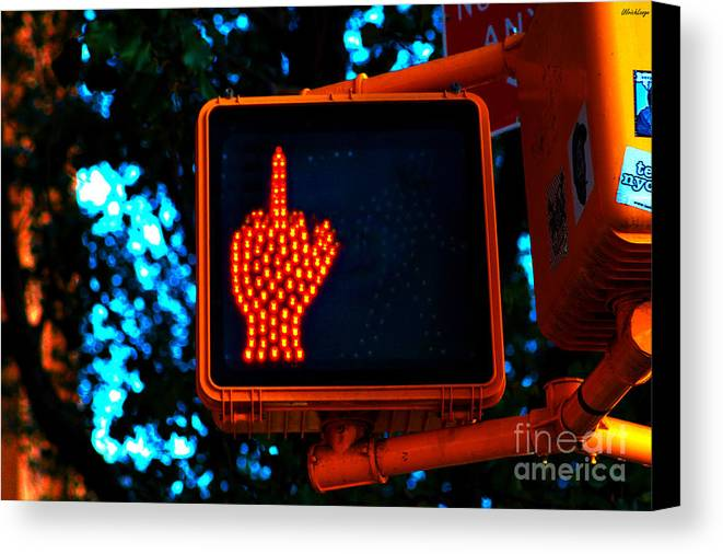 Street Life Canvas Print featuring the photograph The Finger by Ulrich Lange