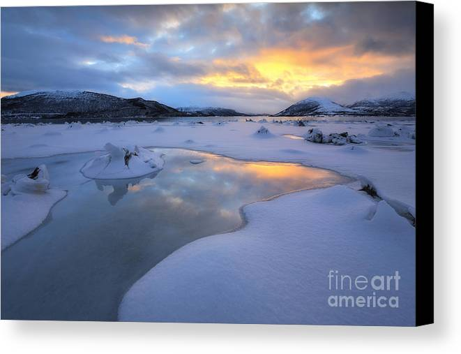 Evenskjer Canvas Print featuring the photograph The Fjord Of Tjeldsundet In Troms by Arild Heitmann