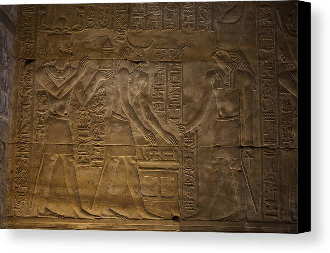 Africa Canvas Print featuring the photograph The Gods Horus, Hathor And The Pharaoh by Taylor S. Kennedy