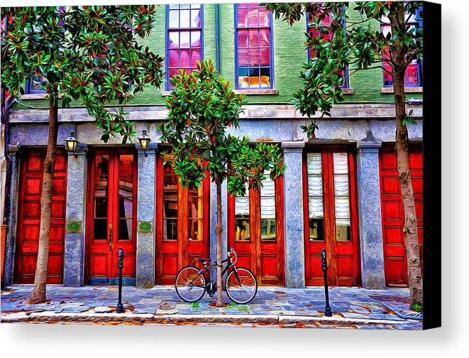 The Locked Bicycle - New Orleans Canvas Print featuring the photograph The Locked Bicycle - New Orleans by Bill Cannon