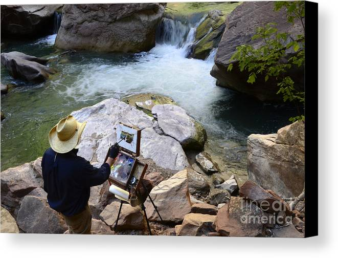 Virgin River Canvas Print featuring the photograph The Narrows Quality Time by Bob Christopher