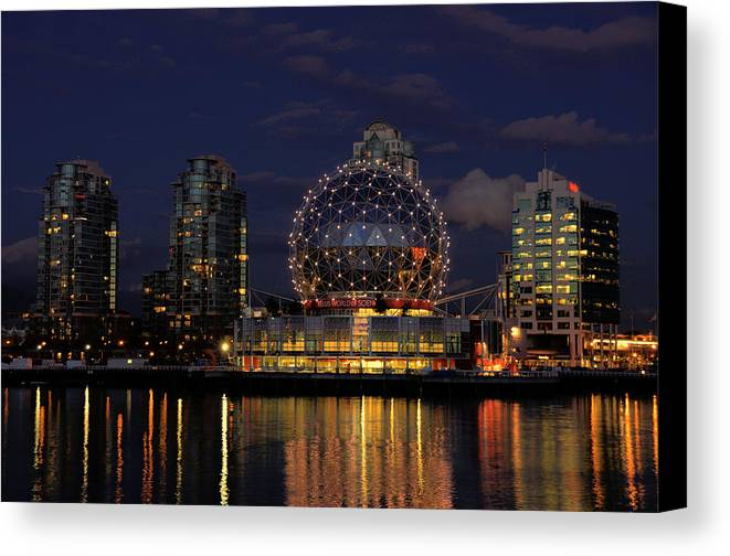 Telus Canvas Print featuring the photograph The Telus Science Center At Night by Lawrence Christopher