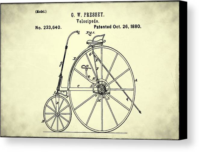 The Velocipede Patent 1880 Canvas Print featuring the digital art The Velocipede Patent 1880 by Bill Cannon