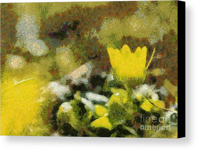 Odon Canvas Print featuring the painting The Yellow Flower by Odon Czintos