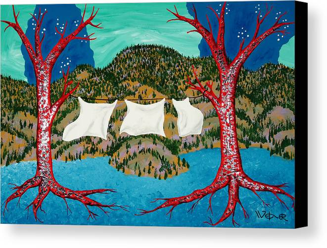 Trees Canvas Print featuring the painting Three Sheets To The Wind by Randall Weidner