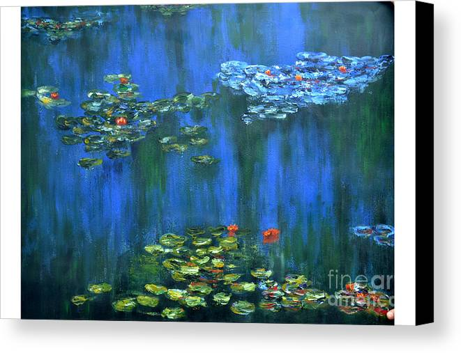 Lily Canvas Print featuring the painting Tribute To Monet 1 by Shankhadeep Bhattacharya