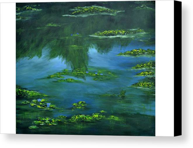 Lily Canvas Print featuring the painting Tribute To Monet 2 by Shankhadeep Bhattacharya