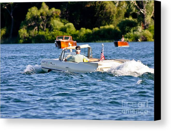Amphicar Canvas Print featuring the photograph Trolling by Mitch Shindelbower