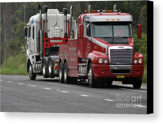 Truck Canvas Print featuring the photograph Truck Tow by Joanne Kocwin