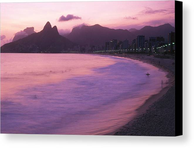 South America Canvas Print featuring the photograph Twilight View Of Ipanema Beach And Two by Michael Melford