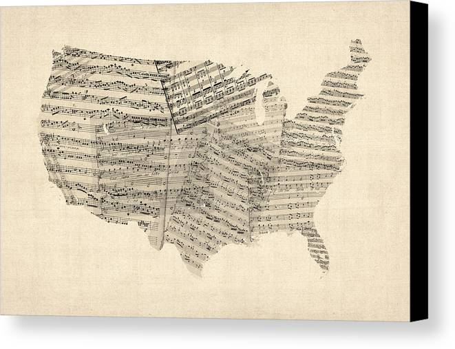 United States Map Canvas Print featuring the digital art United States Old Sheet Music Map by Michael Tompsett