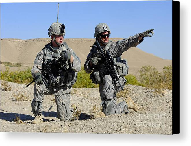 Middle East Canvas Print featuring the photograph U.s. Army Soldiers Familiarize by Stocktrek Images