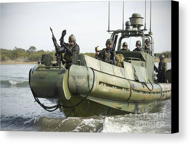 Motioning Canvas Print featuring the photograph U.s. Navy Sailors Conduct A Hot by Stocktrek Images
