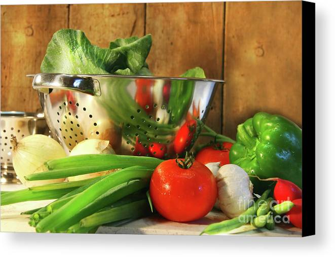 Autumn Canvas Print featuring the photograph Veggies On The Counter by Sandra Cunningham