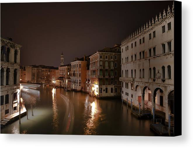 Architecture Canvas Print featuring the photograph Venice By Night by Joana Kruse