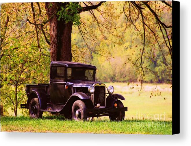 Fields Canvas Print featuring the photograph Vintage Ford by Carolyn Wright