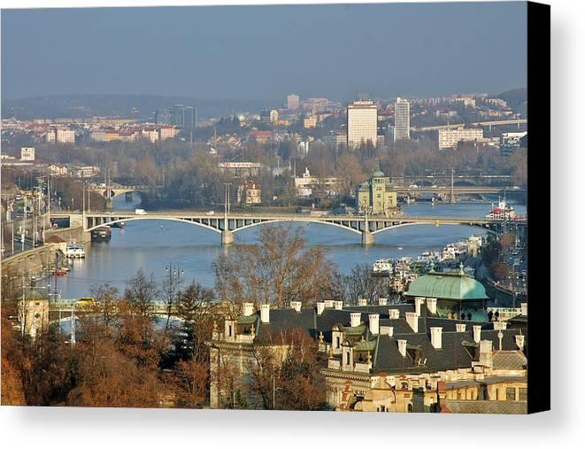 Vltava Canvas Print featuring the photograph Vltava River In Prague - Tricky Laziness by Christine Till