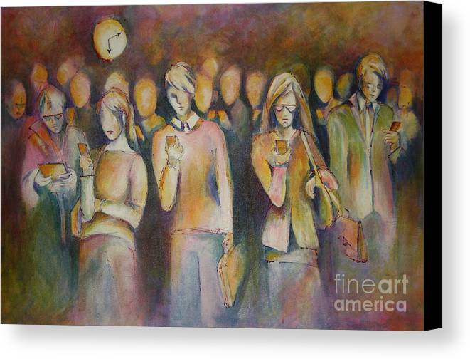 People Canvas Print featuring the painting Waiting For The 6 15 Train by Sandra Taylor-Hedges
