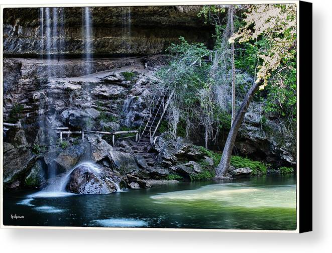 Water Canvas Print featuring the photograph Water And Lights At Hamilton Pool by Lisa Spencer