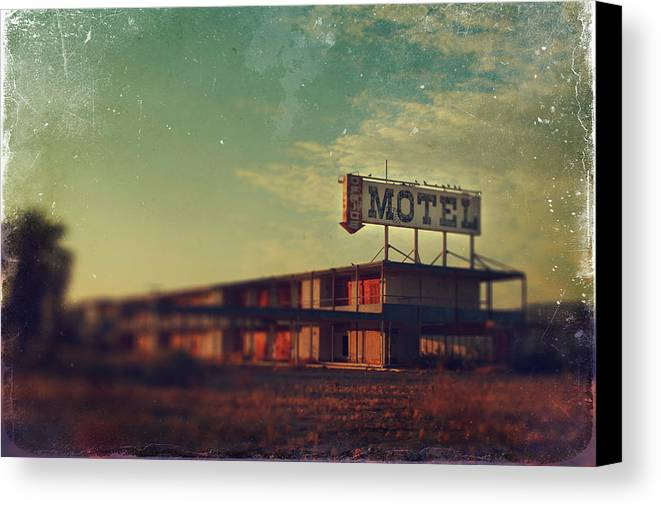 Motel Canvas Print featuring the photograph We Met At The Old Motel by Laurie Search